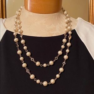 """""""Carolee"""" Faux Pearl necklace with clear crystals"""